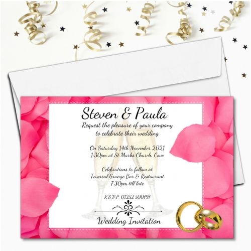 10 Personalised Pink Rose Petals Wedding Invitations Day / Evening N53